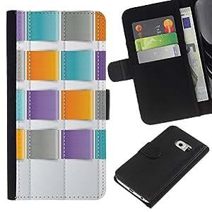 Planetar® Modelo colorido cuero carpeta tirón caso cubierta piel Holster Funda protección Para Samsung Galaxy S6 / SM-G920 EDGE ( Teal Orange Purple Sewing )