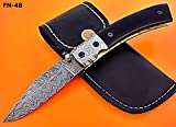 Cheap Poshland Knives FN-48, Custom Handmade Damascus Steel Folding Knife – Beautiful Bull Horn Handle