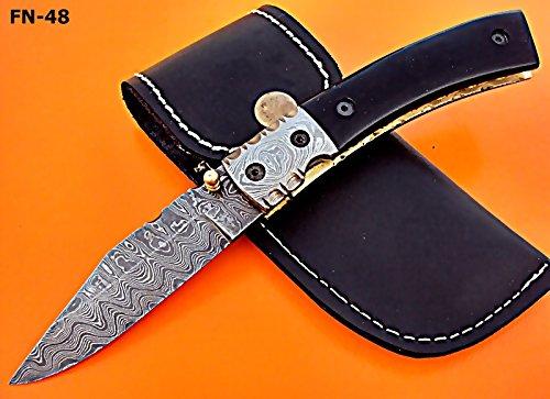 Poshland Knives FN-48, Custom Handmade Damascus Steel Folding Knife - Beautiful Bull Horn Handle