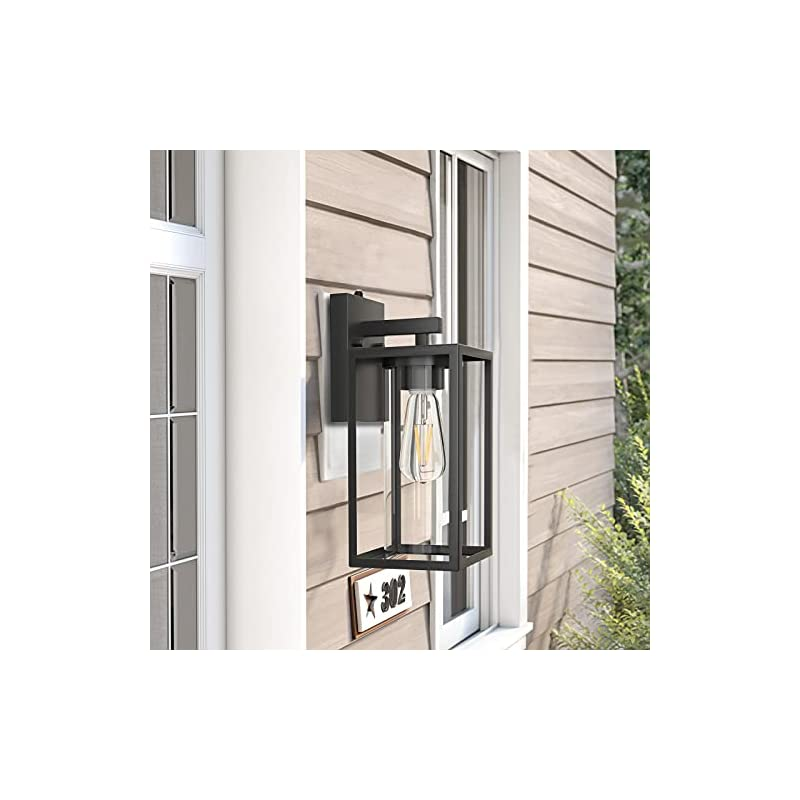 LityMax Outdoor Wall Lantern with Dusk to Dawn Photocell,Exterior Wall Sconce Fixture, Wall Mounted Lights with Matted…