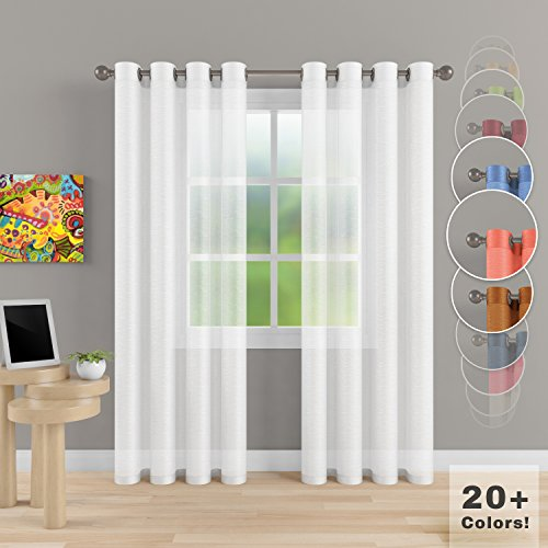 "Grommets Access (Grommet Semi Sheer Luxury 2 Panels Total Wide 108"" (Each Curtain 54""Wx84""L) Window Home Decor and Upscale Design Light Penetrating & Privacy Soft Durable Polyester Easy Upk. Brilliant White)"