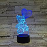 Gift Ideas Love Bear Night Lights 3D Illusion Lamp Animal Light Led Desk Lamps Unique Anniversary Gifts for Baby Home Decor Office Bedroom Wedding Party Balloon Decorations Nursery Lighting 7 Color
