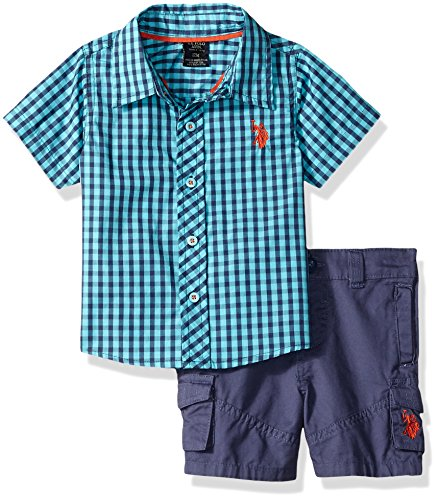 U.S. Polo Assn. Baby Boys Sleeve Woven Shirt Short Set, Fineline Twill Wash Painters Aqua, 24M (Shirt Woven Sleeve)