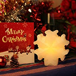 Wax LED Candle with Timer.White Snowflake,