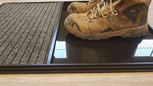 51cXrSsqMvL Alfombra - Felpudo Desinfectante, Perfecto para desinfectar el calzado a la entrada de tu Hogar, Negocio, Trabajo ... Medidas: 60x80 cm Consta de 2 divisiones, una para el desinfectado a través de un líquido desinfectante y otra para el secado del calzado