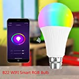 AFUT WiFi Smart LED Bulb, 7W B22 RGB Light for Echo Alexa Google Home, 16 Million Dimmable Colors Changing, Remote Control by Smartphone Best for Bedroom, Living, Baby Children's Room