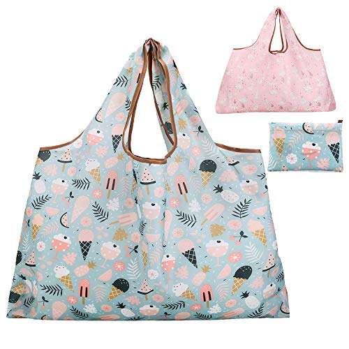 Reusable Grocery Bag Gophra 2 Packs Large Washable Foldable Eco Friendly Nylon Heavy Duty Fits in Pocket Shopping Tote Bag (2018 New Ice Cream)