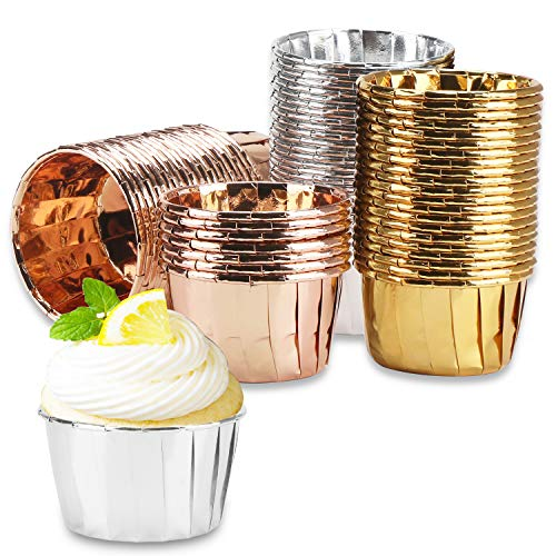 150Pcs Aluminum Foil Cupcake Liners, Eusoar 3.5 Ounce Cupcake Holder, Cupcake Baking Cups Pans, Muffin Pudding Holders, Disposable Foil Ramekins Baking Cups for Party Wedding Birthday