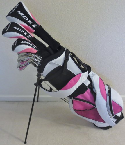 Womens Complete Golf Set Driver, Fairway Wood, Hybrid, Irons, Putter, Clubs and Stand Bag Ladies Beautiful White and Pink Colors