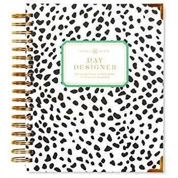 "Day Designer Midyear 2017-2018 Original Flagship Edition Daily Planner, 9"" x 9.75"", Black Spotty"