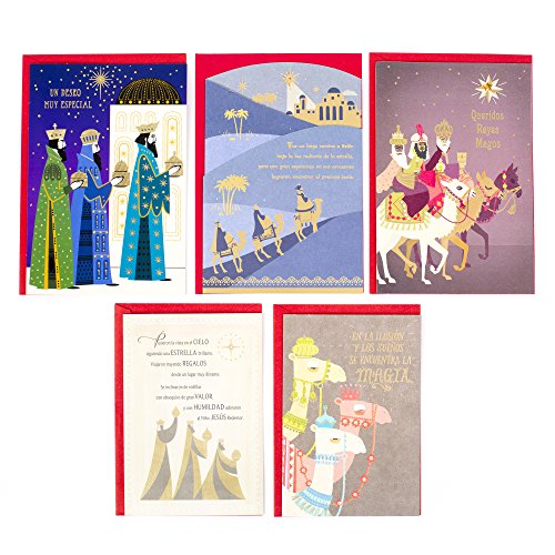 Hallmark Vida Spanish Three Kings Day Greeting Cards Assortment (5 Three Kings Day Cards/Designs and 5 - Men Wise Cards Christmas Three