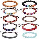 USA Annabel Friendship 7 Chakra Tribal Leather Bracelet for Women Men-10PCS Wooden Bead Hemp Rope Boho Wood Hemp Bracelet Wristband