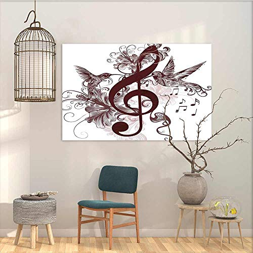 (Oncegod Wall Painting Prints Sticker Music Cute Floral Design with Treble Clef and Singing Flying Birds Sparrows Art for Home Decoration Wall Decor Chesnut Brown White W35 xL31)