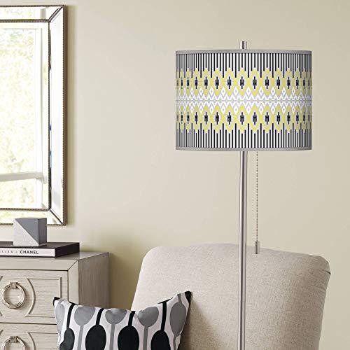 Desert Geometric Brushed Nickel Pull Chain Floor Lamp - Giclee Glow