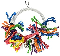 A&E CAGE COMPANY HB545 Happy Beaks Rope Swing preening Assorted Bird Toy, 8 by 11\
