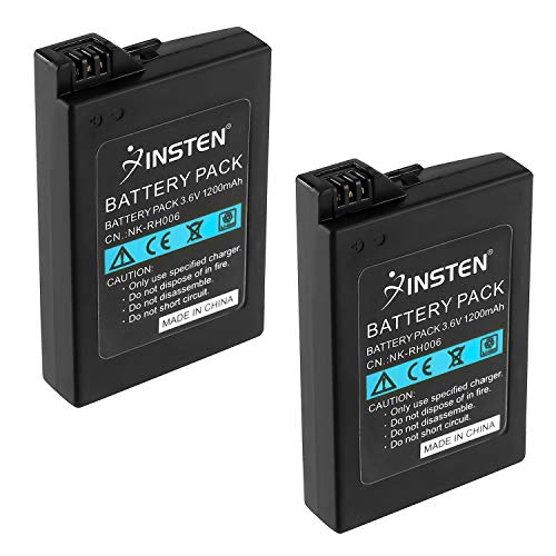 Insten 2Pcs High Capacity Replacement Battery Compatible with Sony PSP 2000 3000 Playstation Portable Slim PSP-2000 PSP-2001 PSP-3000 PSP-3001 PSP-3002 PSP-3004 Rechargeable Lithium Ion - Replacement Battery Psp