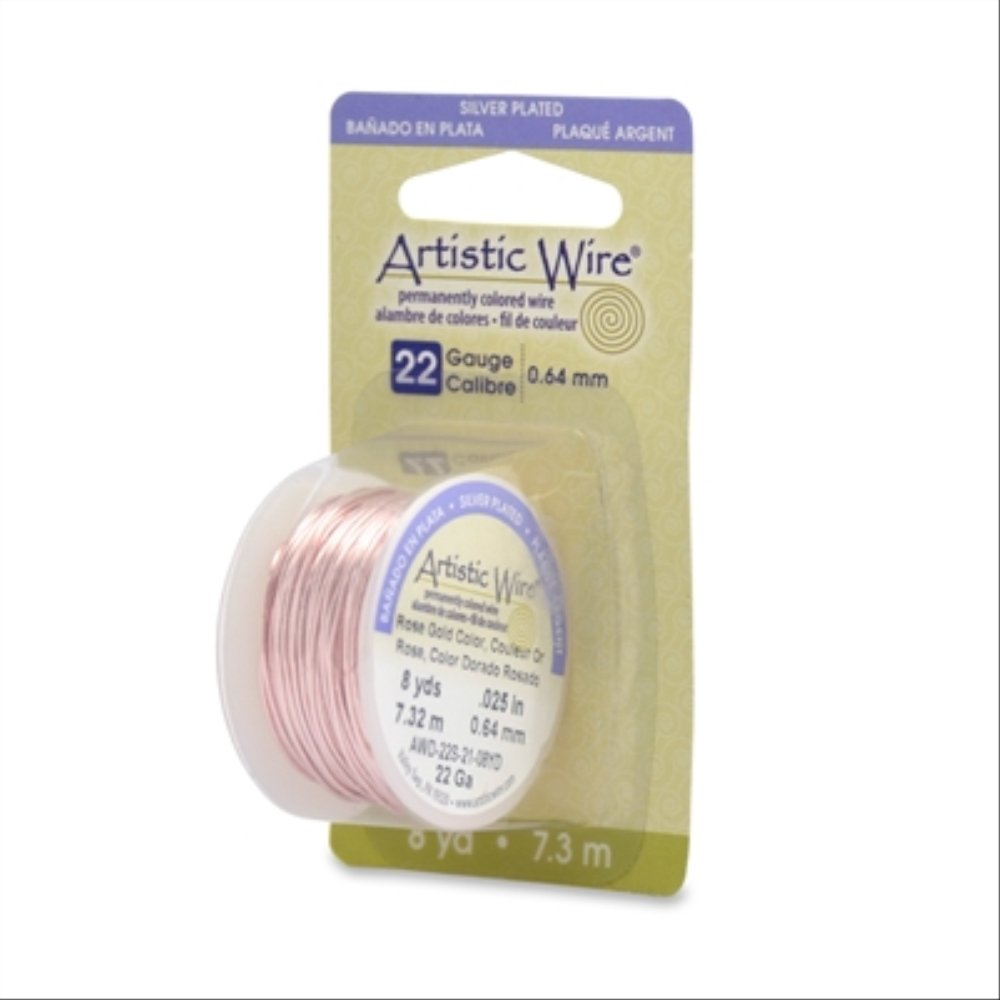 Beadalon 22AWG-21 22 Gauge Permanent Colored Copper Wire, 8-Yard, Rose Gold