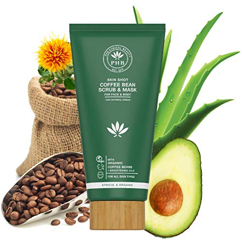 Organic Coffee Scrub and Mask by PHB Ethical Beauty. An Exfoliator for Body and Face. A Pore Minimizer suitable for Anti Cellulite and Spider Vein Treatment for Legs. A Blackhead Remover. 5,30 Fl. Oz