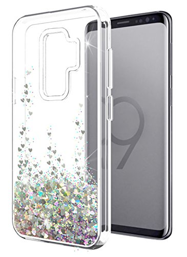 Samsung Galaxy S9 Plus case SunStory Luxury Fashion Design with Moving Shiny Quicksand Glitter and Double Protection with PC Layer and TPU Bumper Case for Samsung Galaxy S9 Plus. (Silver)