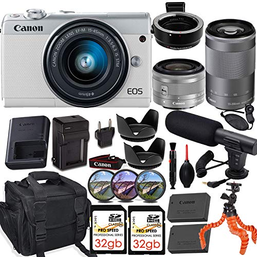 Canon EOS M100 Mirrorless Camera (White) w/Canon 15-45mm f/3.5-6.3 is STM & EF-M 55-200mm f/4.5-6.3 is STM Lens + M-Adapter & Exclusive Video-Accessory Bundle