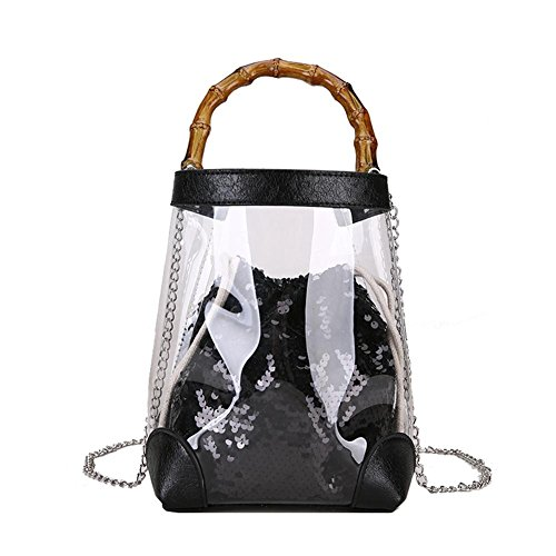 Crossbody Shoulder Girl PVC Glitter Clear Sequin Women Black Ecotrumpuk Bucket Chain Handbag CUqwR6z