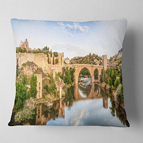 Designart CU7055-26-26 Toledo Bridge in Spain Landscape' Photography Throw Cushion Pillow Cover for Living Room, Sofa, 26 in. x 26 in, Pillow Insert + Cushion Cover Printed on Both Side by Designart