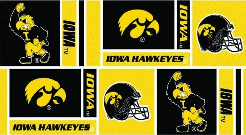 Sykel Enterprises Collegiate Cotton Broadcloth University of Iowa Squares Black//Yellow Fabric Fabric by the yard Gold//Red//Black