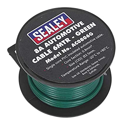 Sealey AC0806B Automotive Cable Thick Wall 8A 6mtr Black