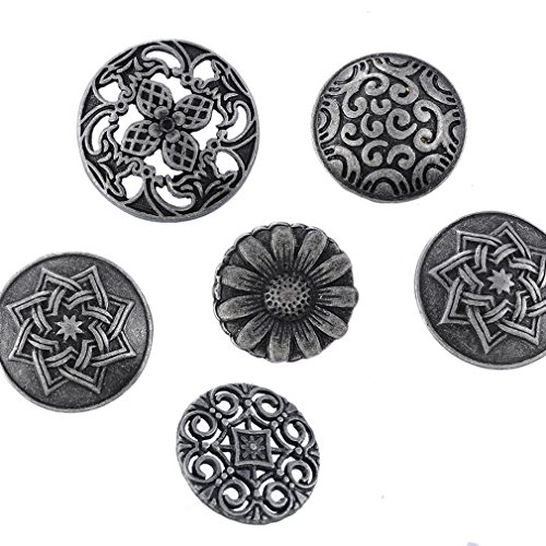 Metal Shank Buttons - Souarts Mixed Antique Silver Color Pattern Engraved Metal Buttons Pack of 50pcs
