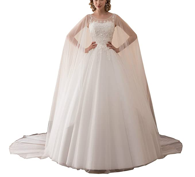 Dreamdress Womens Lace Sheer Tulle White Wedding Dresses With Cape