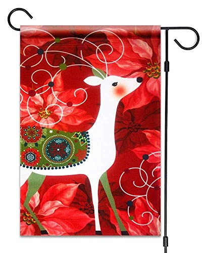 Deer Poinsettia - Afagahahs Christmas Deer & Poinsettia Flag Merry Christmas Decorative Flag 100% All Weather Polyester Small Size Banner