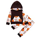 Newborn Thanksgiving Day Sets,Jchen(TM) 2PCS Infant Baby Thanksgiving Day Letter Turkey Print Hooded Tops+Pants Outfits Sets for 0-24 Months (Age: 12-18 Months)