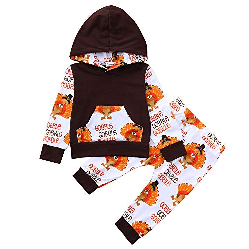 ❤️Mealeaf❤️ Baby Boys and Girls Clothes withInfant Baby Thanksgiving Day Letter Turkey Print Hooded Tops+Pants Outfits Set (18-24 Months Old, Coffee)