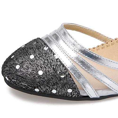 T.T-Q Moderne Frauen Low Heel Leder Tanzschuhe Tüll mit Strass Tanzschuhe Leder (Weitere Farben) Gold e294c2