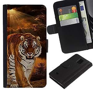 KingStore / Leather Etui en cuir / Samsung Galaxy S5 Mini, SM-G800 / Tiger Noche Sunset desierto de Sun Ray
