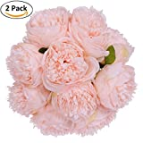 Lvydec Vintage Peony Artificial Flowers – 2 Pack Silk Flowers Bouquet 10 Heads Peony Fake Flowers For Wedding Home Decoration(Spring Pure Pink)