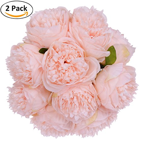 Artificial Flowers - 2 Pack Silk Flowers Bouquet 10 Heads Peony Fake Flowers For Wedding Home Decoration(Spring Pure Pink) (Soft Pink Peony)