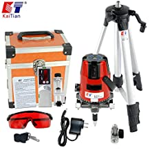 Kaitian 5 Line 6 Point Horizontal Vertical Laser Level with with Tripod and Receiver Detector Combo Set
