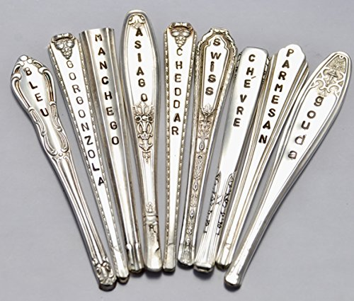Cheese Markers. Set of 9. Silver Plate Spoon handles. Hand Stamped. Vintage Table. Brunch Wine and Cheese Party. Hostess Gift. 3 inches. Antique Silver. One of a Kind Set by Vintage Garden Art