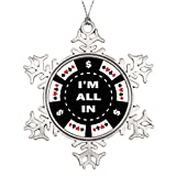 pansy Tree Branch Decoration Im All In Funny Christmas Snowflake Ornaments Gaming Chips I'm All In Poker Chip