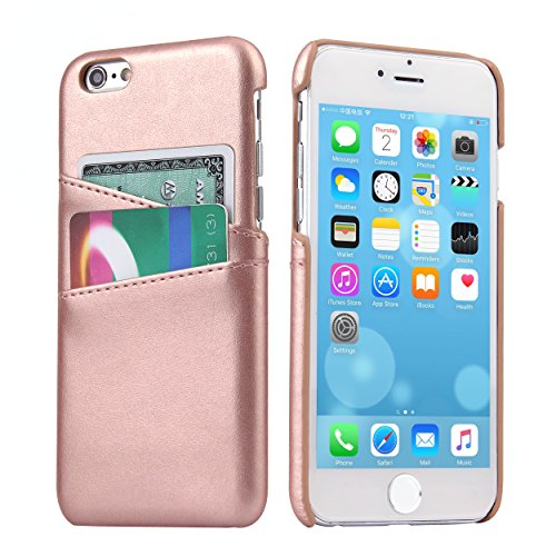 iPhone 6 Plus Leather Card Case - SOWOKO iPhone 6S Plus Slim Wallet Case, Credit Card Slots ID Holder Leather Protective Cover for Apple iPhone 6/6S Plus 5.5 inch (Rose Gold)