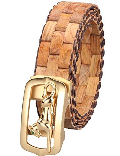 Menschwear Mens & Womens Adjustable Yellow Pear Wooden Belt Handmade 130CM (Wooden Pear)