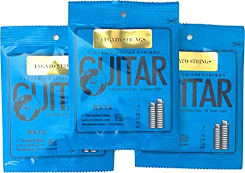 Guitar Strings Electric ( 3 Sets) VIGOROUS, CLEAR TONE Nickel Wound Super Light By Legato - Eric Johnson Guitar Tab