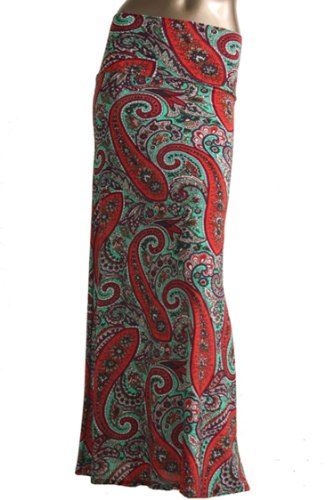 TrendzArt¨ Paisley / Floral Print Maxi Skirt (Small, Coral & (Turquoise Floral Skirt)