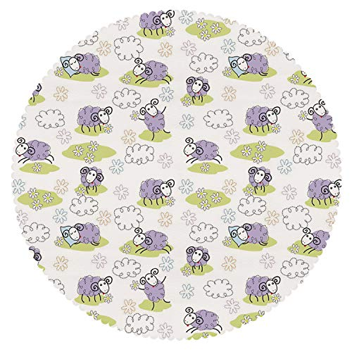 iPrint Round Tablecloth [ Doodle,Cute Sheep with Clouds Constructed Out of Dots Happy Animals Child Friendly Print Decorative,Lavender ] Home Accessories Set -