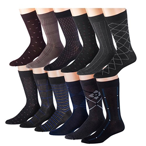 James Fiallo Mens 12 Pack Colorful Patterned Dress Socks M5300 - Fits shoe 6-12 (sock size 10-13)