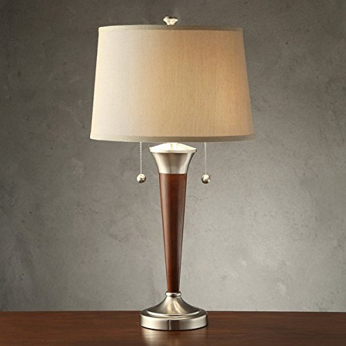 Wood and Brushed Nickel Finish 2-light Accent Desk Lamp with Decorative Pull Chain (Requires Two 60-watt Bulbs-not Included) (Wood Contemporary Table Lamp)
