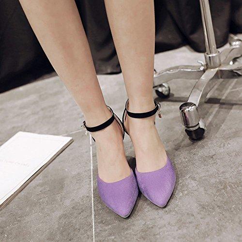 MissSaSa Damen ankle-strap spitze high-heels Nubuck Pumps Violett
