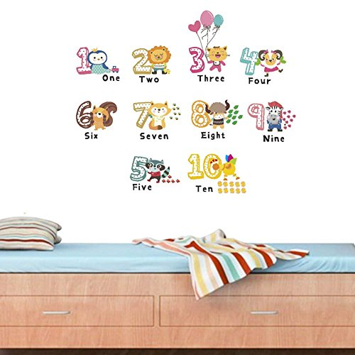 BIBITIME 1-10 Math Number English Quotes Wall Stickers for Toddlers Bedroom Animal Balloon Cat Zebra Lion Vinyl Stickers for Children Baby Infants Nursery Wall Decor