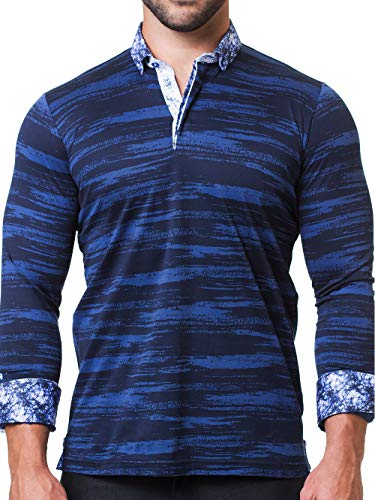 Maceoo Mens Designer Polo - Stylish & Trendy Sport Shirts - Newton Black Breakthrough - Tailored -